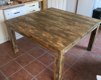 Large Rustic Square Plank Kitchen Table