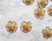 2pcs ∙ Gold Cherry Blossom Charm Hollow Sakura Flower Connectors Floral Pendant Jewelry Supplies