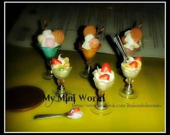 ice-cream in miniature miniature fruit yogurt Cup