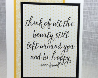 Be Happy / Notecard / Folded Notecard / Handstamped / Encouragement