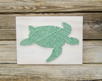 Sea Turtle String Art, Wood Decor, Home Decor, Rustic Wood, Seaside Decor, Beach Decor, Beach Cottage Decor, Cottage Chic