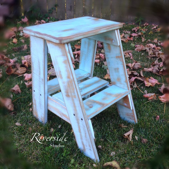 rustic wood step stool shabby chic by riversidestudioon. Black Bedroom Furniture Sets. Home Design Ideas