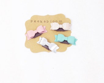 Petite Mini Leather Bow No Hair Hair Clip- Mini Leather Bow- Baby Hair Clip- Peekabloom