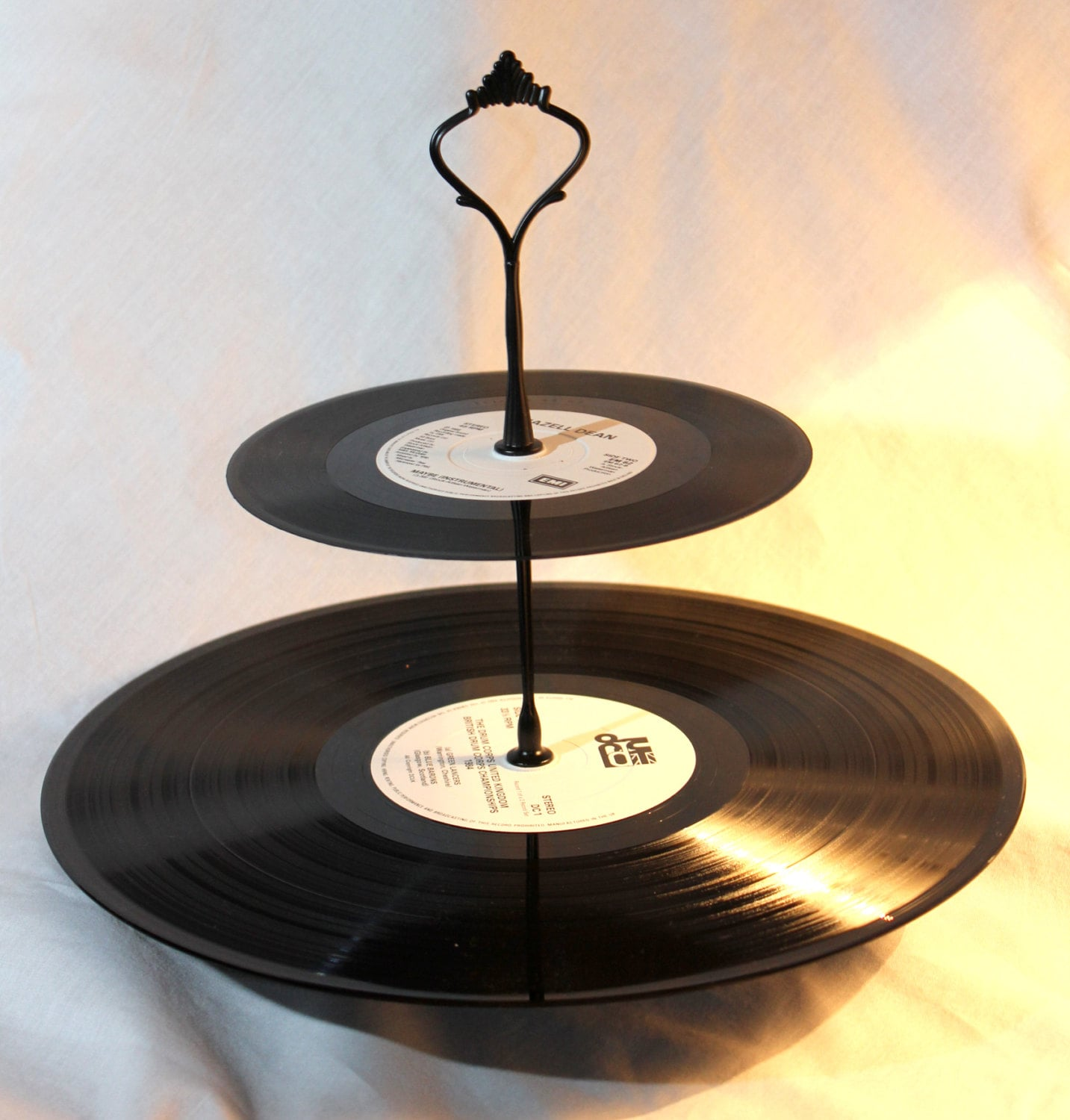 2 Tier Cake Stand Vintage Vinyl Record Cake Or Jewellery