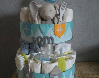 """Little Knight"" diaper cake personalized"