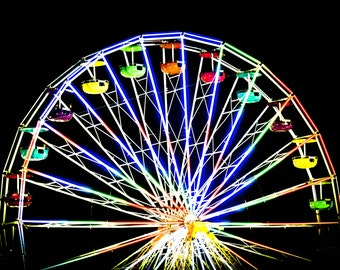 Ferris wheel on the Boardwalk Ocean City Maryland Digital Photography fine art print 5x7 or 8x10 Fine Art Print - Home Decor