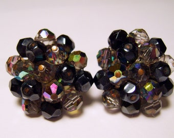 Vintage Laguna Black & Aurora Borealis (AB) Glass Bead,Clips Earrings /40's-50's