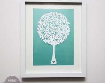 framed love tree papercut