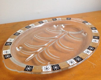 Vintage Mid-century MCM Depressed Glass Tray with Patterned Border