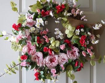 Cherry Peonies Roses Wreath, Spring Summer Wreath, Pink Fuchsia Roses Peonies Wreath