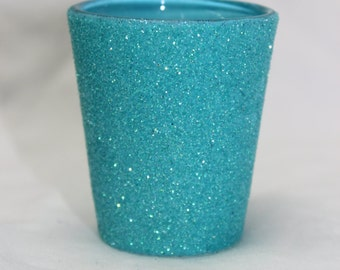 Shot Glass with Teal Glitter