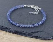 Iolite Beaded Bracelet in Sterling Silver or Gold Filled. Blue Gemstone Stacking Bracelet. Dainty Bead Jewellery. Semi Precious Jewelry