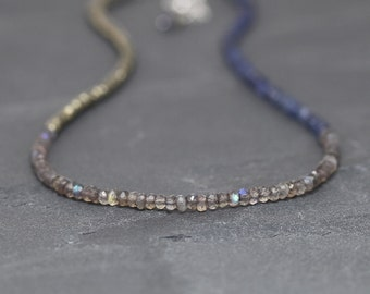 Labradorite, Iolite & Pyrite Beaded Necklace. Blue Gemstone Choker. Layering Necklace in Sterling Silver or Gold Filled. Jewelry. Jewellery