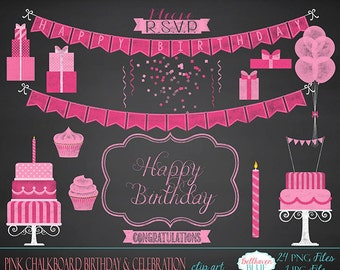 Pink Chalkboard Birthday and Celebration Clipart