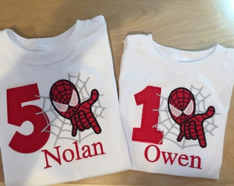 Personalized Spiderman applique shirt