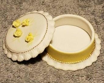 Lefton Yellow Trinket Box