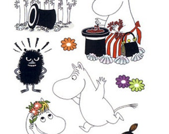 Moomin Stickers for crafts, THREE sheets  from Finland