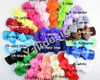 Colorful Baby Headbands Ribbon Big V Bowknot Head Crochet Headbands  -YTK32