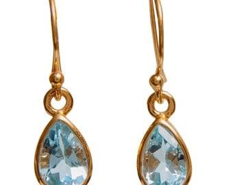 Artisan Made Gold-plated Sterling Silver Blue Topaz Earrings