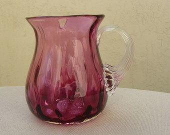 PIlgrim Cranberry Glass, Vintage Glass Creamer or Pitcher