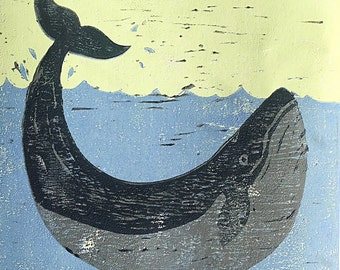 Blue whale reduction lino print