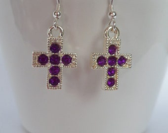 purple cross earrings, Sterling Silver ear wires, bridesmaid gifts