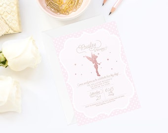 Glitter Fairy Invitation | Fairy Birthday Invitation | Tinkerbell Invite | Tinkerbell Birthday Invitation | Pink Birthday Invitation