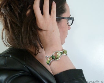 Bracelet aluminium - silver and green beads