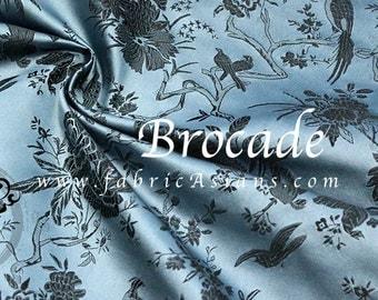 BIRDS fabric Blue Brocade. Birds on Branch