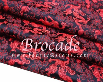 Red Dragon and cloud Brocade. Oriental Fabric.