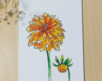 Orange Dahlia Ink & Watercolour Postcard Print