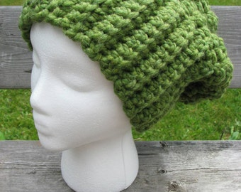 Women's green slouchy hat winter hat