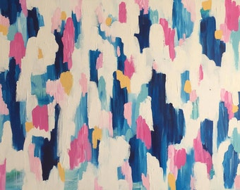 "Tickled Pink - Extra Large Original Abstract Acrylic Painting - 36""x48""x1.5"""