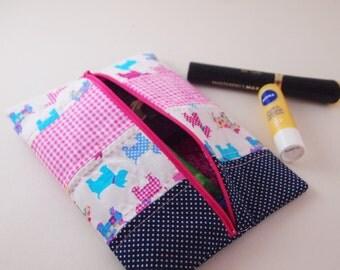 Pencil Case, Dog Cosmetic Bag, Pink Make Up Bag, Travel Bag, Dog Print Bag, Make Up Bag,Pencil Case, Wash Bag