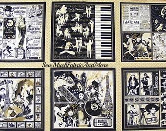 "Curtain Call Fabric Panel~ 23"" x 44""~Wilmington~music~musicals~showgirls~jazz~cinema~vintage design~cotton"