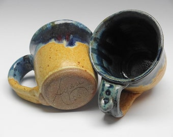Set of 2 Mugs Blue Splash, Coffee Mug, Tea Cup, Handmade Mug, Pottery Mug, Ayers Pottery