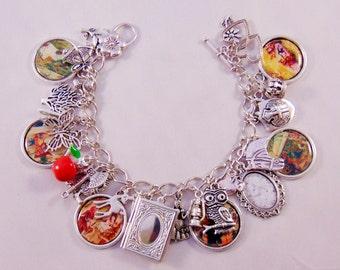 Snow White charm bracelet, Once Upon a Time, Jewellery, Mary Margaret, charm bracelets, Silver plated bracelet.