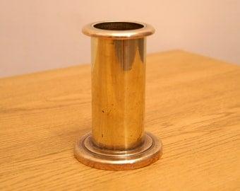 Vintage heavy solid brass geometric candle holder / vase