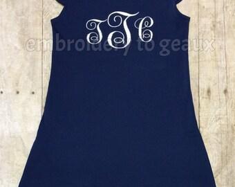 Girls Navy Monogrammed Flutter Sleeve Dresses, Monogrammed Dresses, Girls Summer Dress, Girls Summer Outfit, Toddler Girls Dress