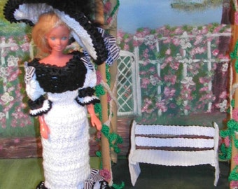 Crochet Fashion Doll Barbie Pattern- #124 TURN of CENTURY Black and White