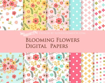 Blooming Flowers / Flower / Pink, Yellow, Red, Blue Flower Digital Paper Pack - Instant Download - DP083
