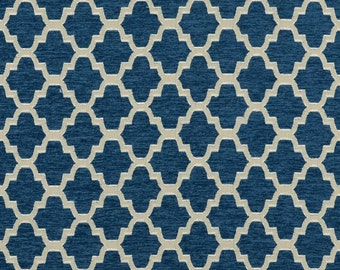 Covington Trellis in Indigo Blue Drapery Panels-Lined, Unlined, or Blackout Curtains, Sold in Pairs, also in Orange