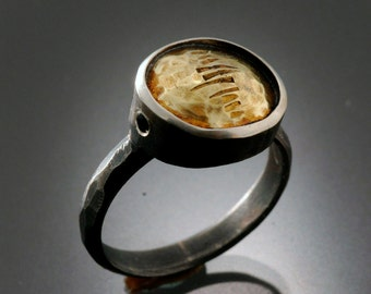 One of a kind Sterling Silver and 18k Gold ring with Black Diamonds | Sterling Silver Ring with 18k Gold