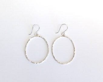 Hammered Oval Drop Earrings: Argentium Silver