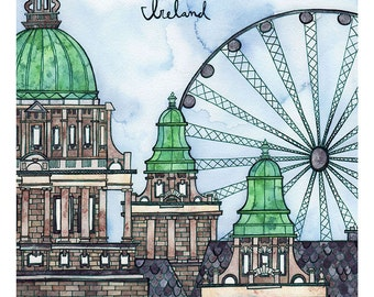 BELFAST IRELAND Print 11X14 Ink and Watercolor Painting