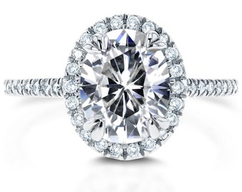 Oval Moissanite and Diamond Halo Engagement Ring 2 1/3 CTW in 14k White Gold