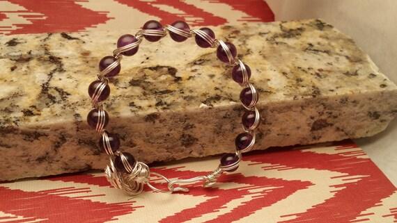 Sterling Silver Purple Amethyst Wire Wrapped Charm Bracelet women wire weave