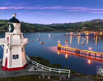 Akaroa Lighthouse at dusk. New Zealand - Unframed Photo Print - 3 Sizes Available