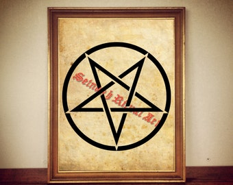 Inverted pentagram poster, occult print, magic illustration, esoteric art, occultism, satanic home decor, evil, Satan, Lucifer sigil #105