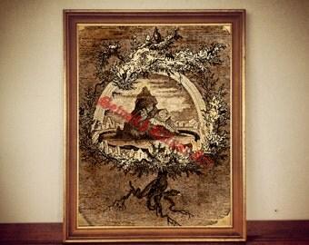 Yggdrasil print, The World Tree illustration, Icelandic manuscript poster, nordic mythology, norse home decor #329